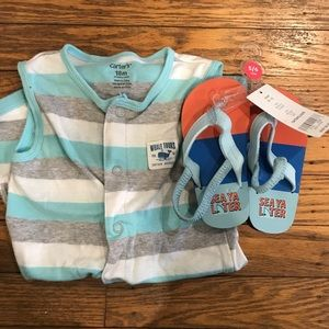 Carters 18 months Jumper and NWT 5/6 Flip Flops